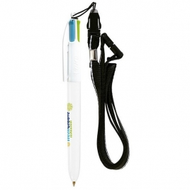 BIC® 4 Colours Fashion bille + Lanyard