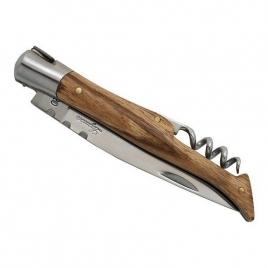 Couteau Laguiole, 12 cm, frêne exotique, tire-bouchon, avec étui