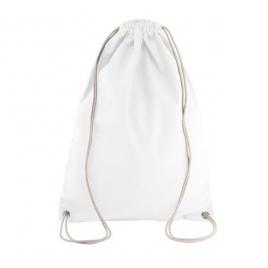 Sac à dos en coton avec cordelettes - Blanc