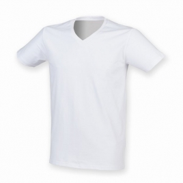 T-shirt homme extensible col v