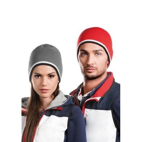 Bonnet avec bande bicolore contrastée