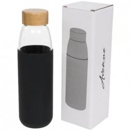 Bouteille sport en verre de 540 ml avec couvercle en bois Kai
