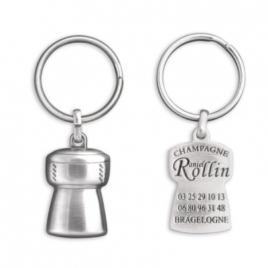 Porte-clés bouchon de champagne 3D 1 face