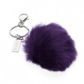 Porte-clés pompon imitation fourrure