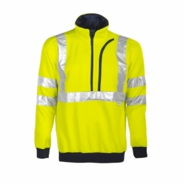 Sweatshirt col zippé HV respirant EN ISO 20471-cl3